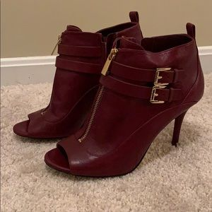 MK open toed booties with front zipper